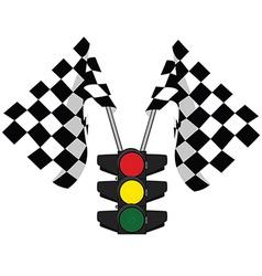 Traffic lights and finish start flag vector image