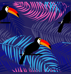 tropic toucan bird and palm leaf seamless pattern vector image