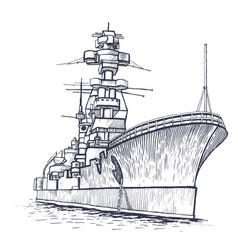 warship with a high mast vector image