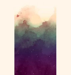 Watercolor sky with stars background vector