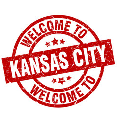 Welcome to kansas city red stamp vector