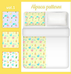 white blank and cute alpaca bed linen set vector image