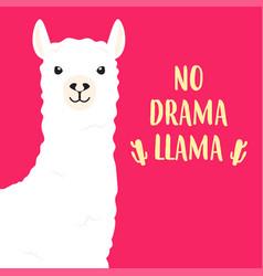 White llama with lettering no drama llama vector