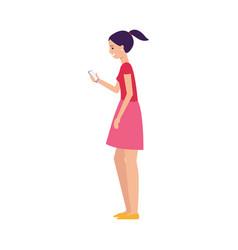 woman or girl invites in referral program flat vector image