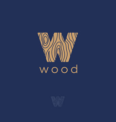 wood emblem letter w wooden texture furniture vector image