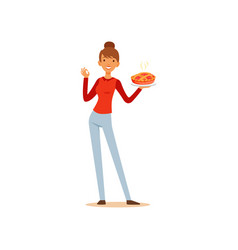 Young woman holding freshly baked pie and showing vector