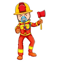 A simple coloured sketch of a fireman vector image