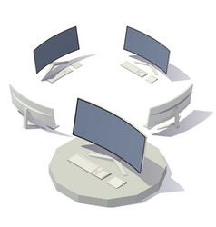 computer curved screen vector image vector image