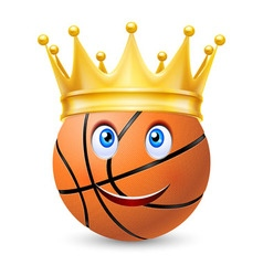 Gold crown on a basketball bal vector image vector image
