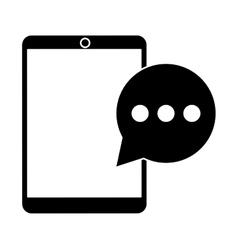 mobile device bubble speech dialog pictogram vector image