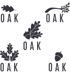 set of logos on an oak tree with leaves and acorns vector image