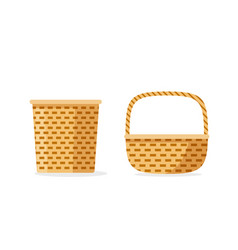 wicker basket icons isolated flat cartoon vector image vector image