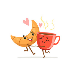 comic characters of hugging croissant and cup of vector image vector image