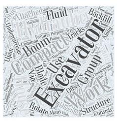 Compact excavator word cloud concept vector
