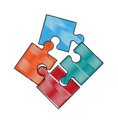 jigsaw puzzle symbol vector image