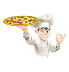 okay sign pizza chef vector image
