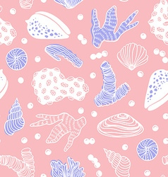 Seamless pattern with sea treasures - corals vector image vector image