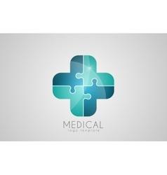 Abstract medical logo Puzzle medicine logo vector image vector image