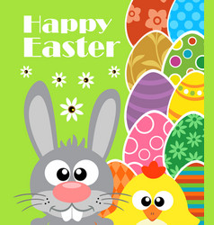 happy easter background with rabbit and chicken vector image vector image