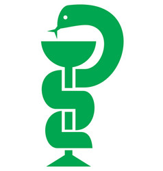 medical snake and bowl symbol for drugstore vector image vector image