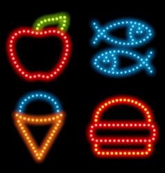 neon food set vector image vector image
