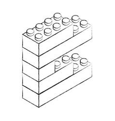 Sketch draw toy building block bricks vector
