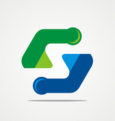abstract letter s technology logo vector image vector image