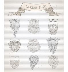 Hand-drawn beards set vector