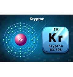 Krypton symbol and electron diagram krypton vector