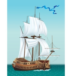 Sailing Ship in the Sea vector image