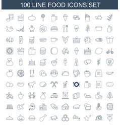 100 food icons vector
