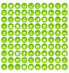 100 spring holidays icons set green vector