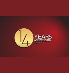 14 years anniversary logotype with golden circle vector