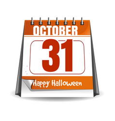 31 october halloween holiday date in calendar vector image