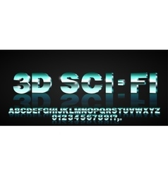 3d sci-fi font vector image