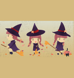 A little witch girl with bloom cartoon character vector