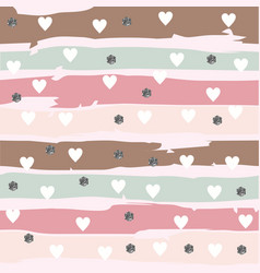 abstarct striped pattern with hearts and glittery vector image