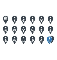 All Currency Map Markers Flat Icons vector