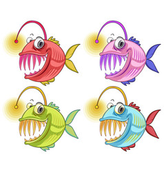 Angler fish cartoon character isolated on white vector