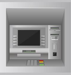 Atm bank cash machine 3d realistic front view vector