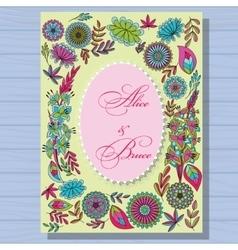 Autumn wedding invitation on wooden background vector