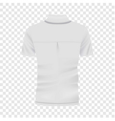back of white polo shirt mockup realistic style vector image