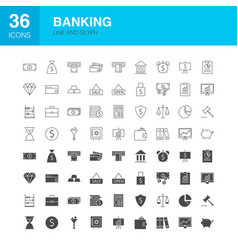 banking line web glyph icons vector image
