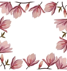 Beautiful frame with pink magnolia flowers vector image