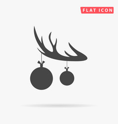 black silhouette of deer horn with antlers and vector image vector image