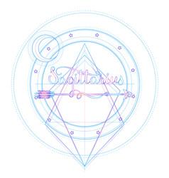 Blackwork tattoo flash sacred geometry arrow and vector