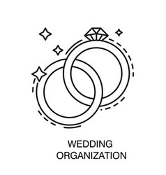 bridal or engagement rings isolated icon wedding vector image