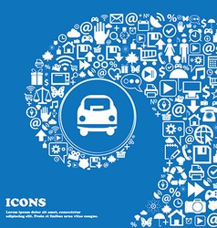 Car icon sign Nice set of beautiful icons twisted vector image