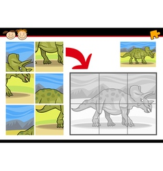 cartoon dinosaur jigsaw puzzle game vector image