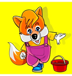 cartoon fox in a pink jumpsuit shows the finger vector image